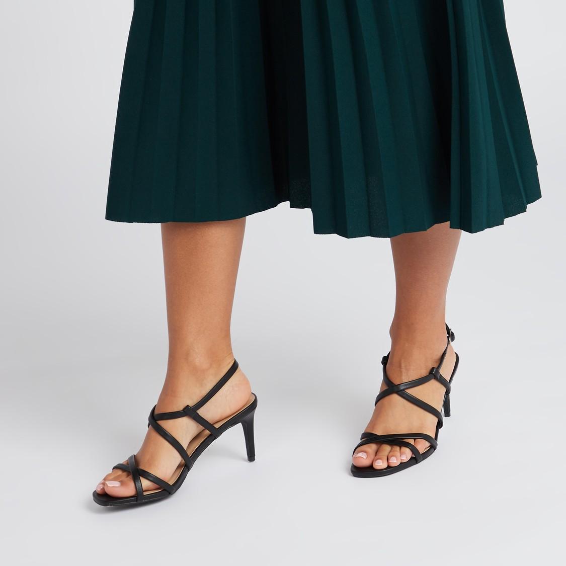 Solid Heel Sandals with Buckle Closure