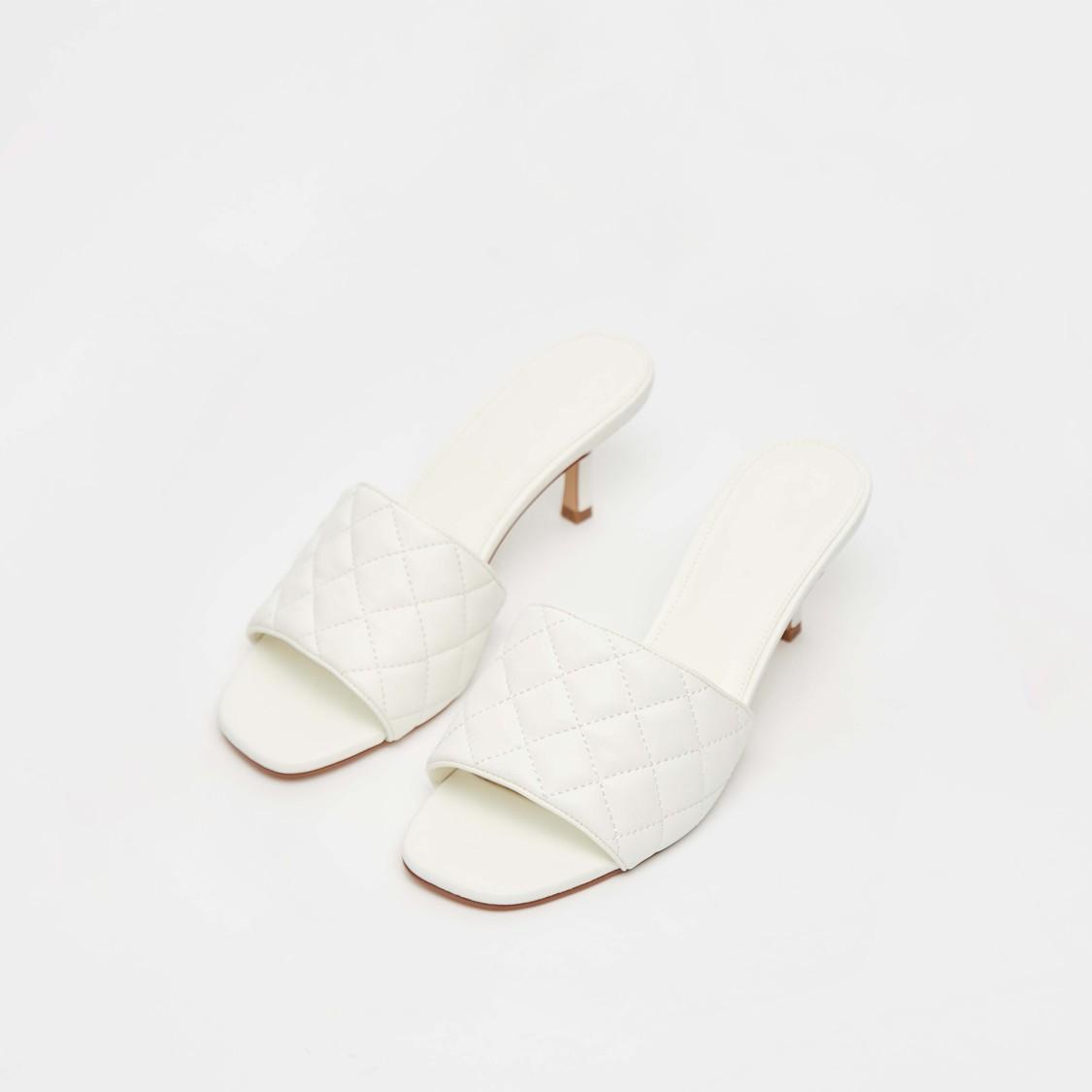 Quilted Slip-On Open Toe Stilettos Heel Sandals