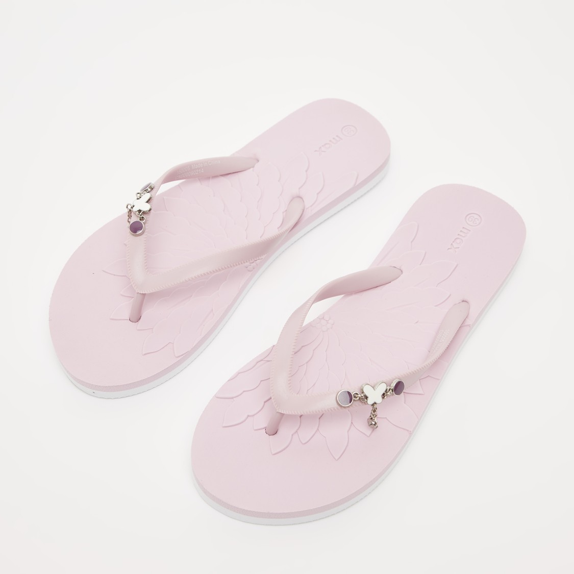 Textured Flip Flops with Butterfly Applique Detail