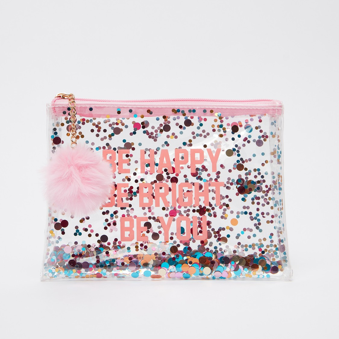 Typographic Print Pouch with Zip Closure