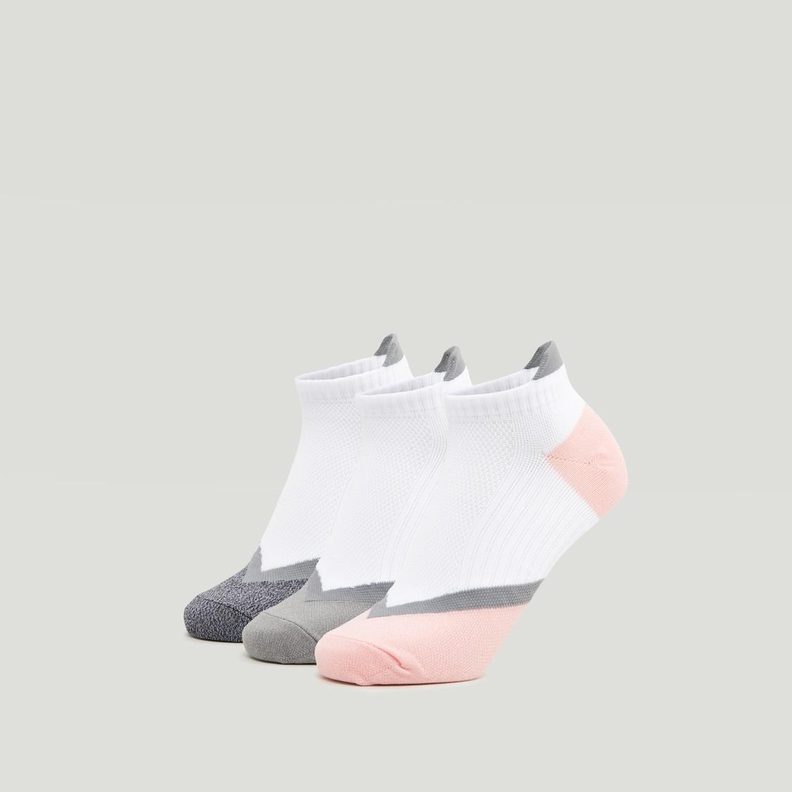 Set of 3 - Printed Ankle Length Socks with Cuffed Hem
