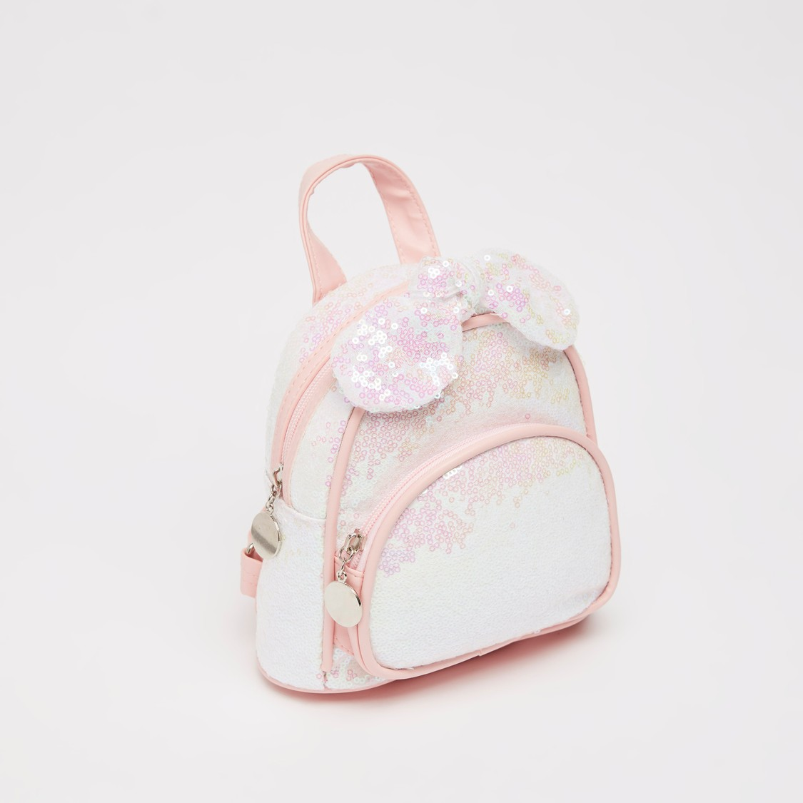 Sequin Detail Backpack with Applique Bow and Zip Closure