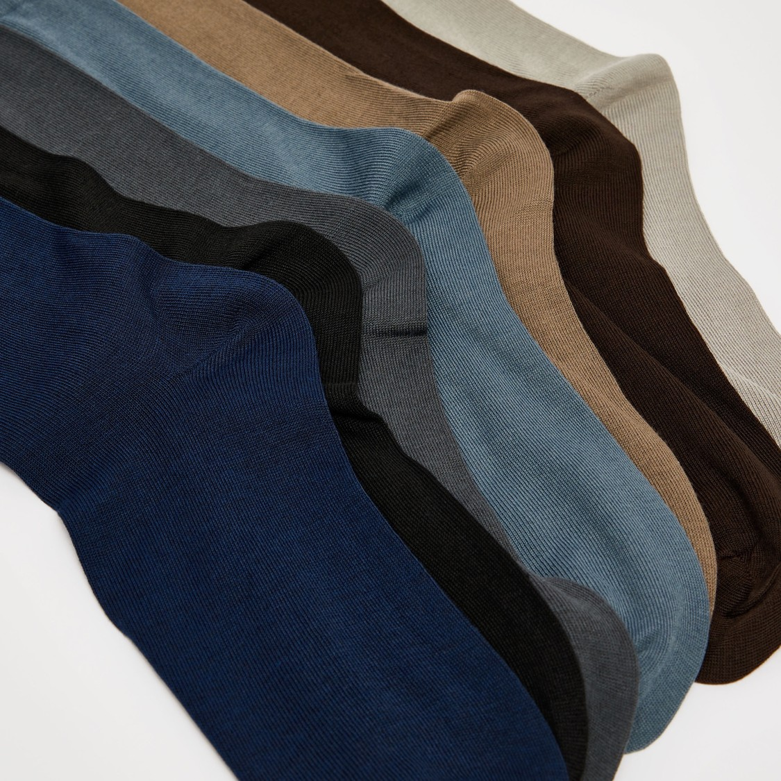 Pack of 7 - Solid Crew Length Socks with Cuffed Hem
