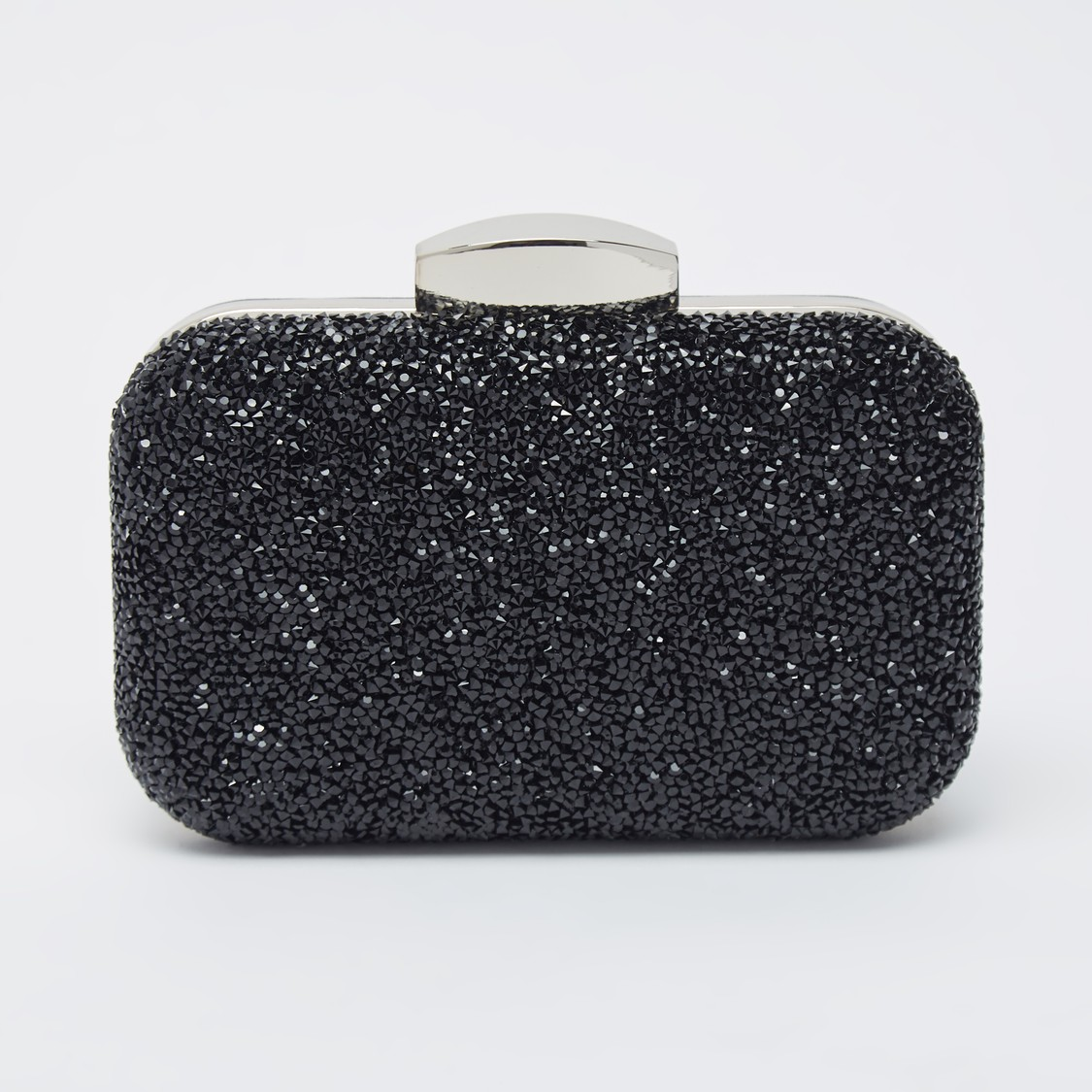 Embellished Clutch with Chain Strap and Snap Button Closure
