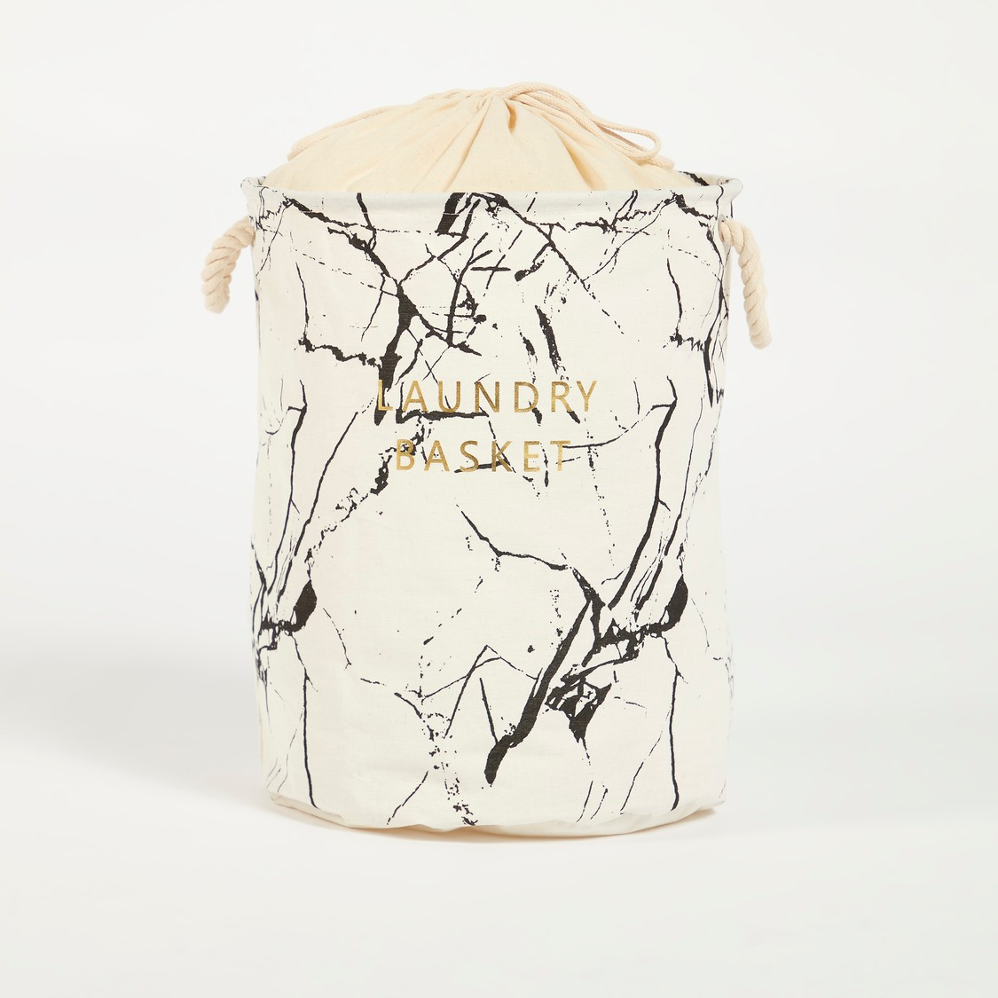 Printed Laundry Hamper with Handles and Drawstring Closure - 38x49 cms