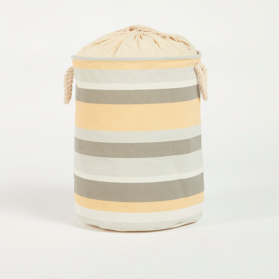 Striped Laundry Hamper with Handles and Drawstring Closure