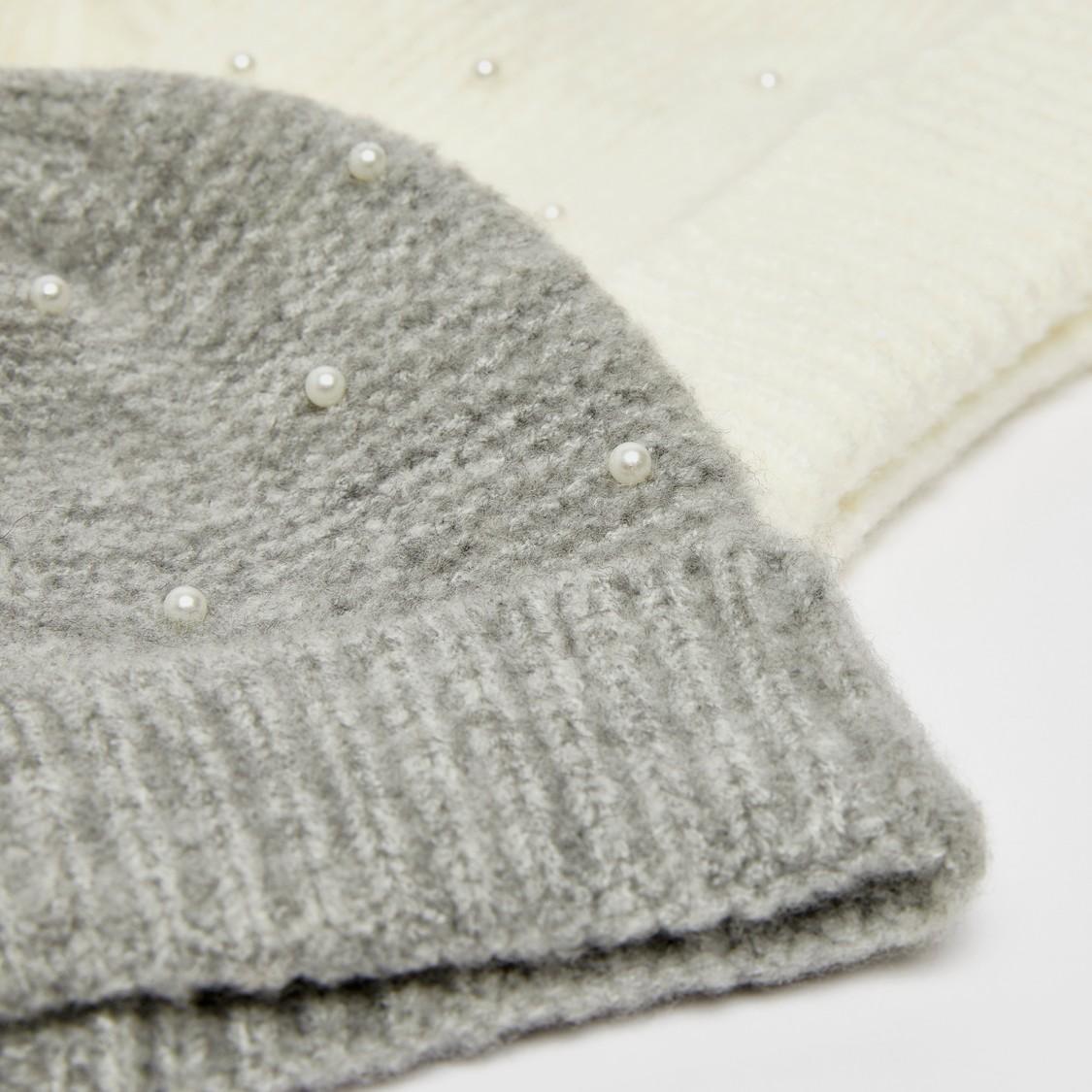 قبعة بيني سادة بتفاصيل مزخرفة - طقم من قطعتين