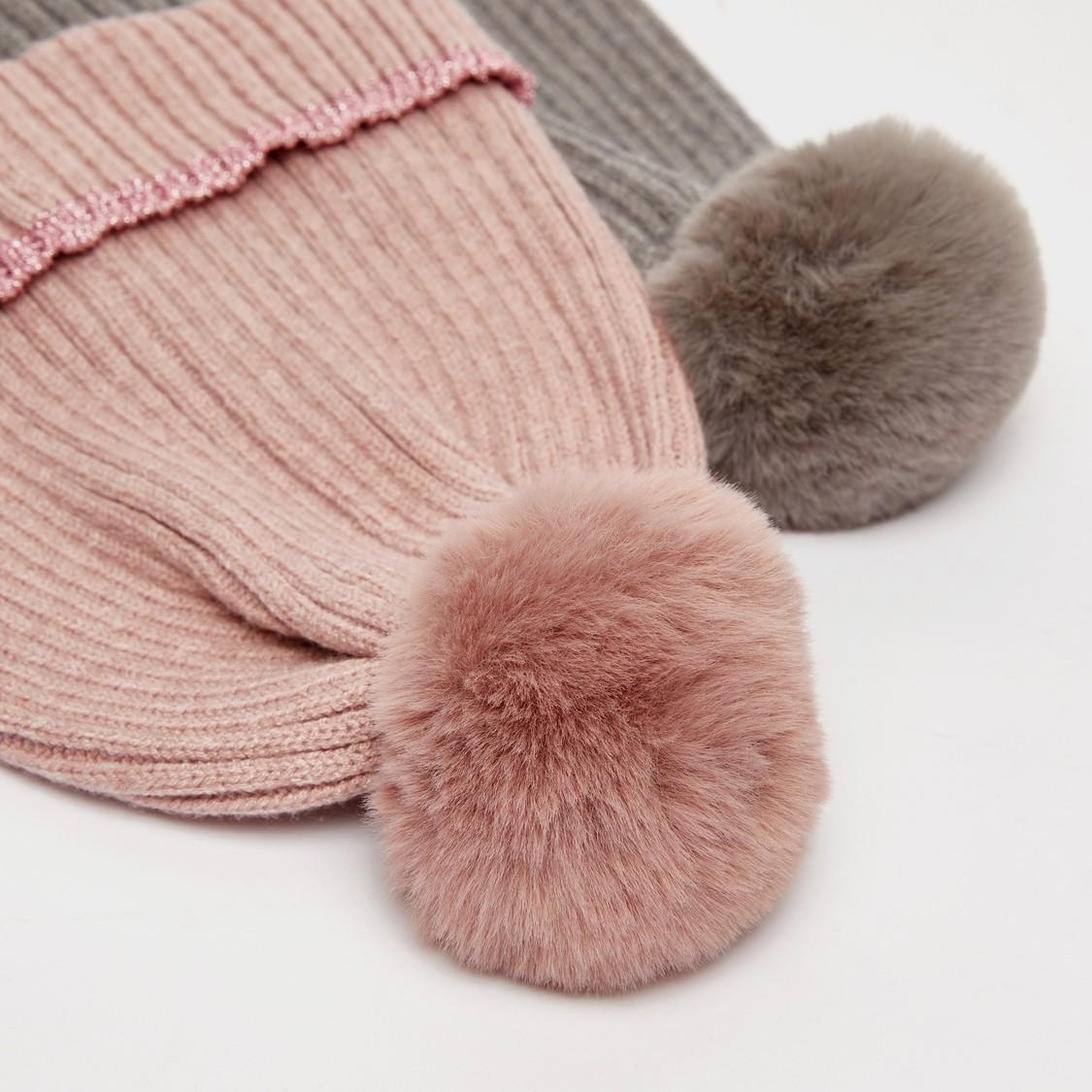 قبعة بيني بارزة الملمس مزيّنة بتزيينات بوم بوم - طقم من قطعتين