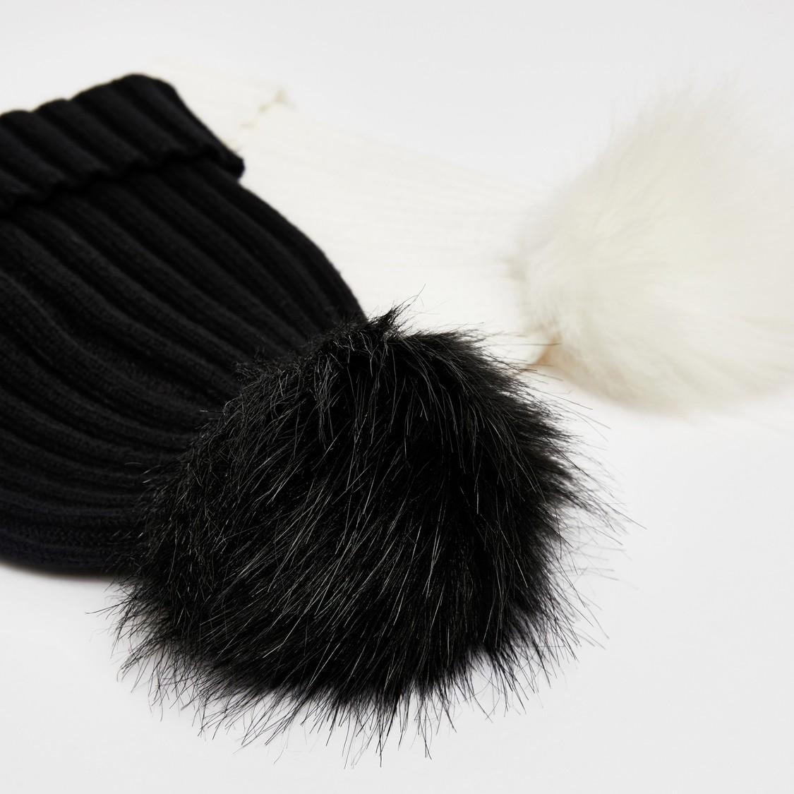 قبعة بيني بارزة الملمس بتفاصيل مخمليّة - طقم من قطعتين