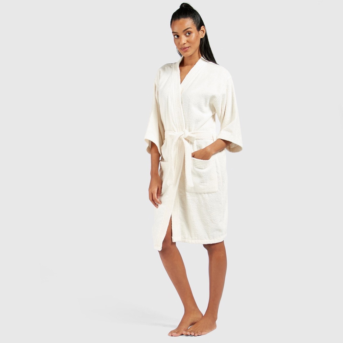 Textured Bathrobe with Pockets and Tie-Ups