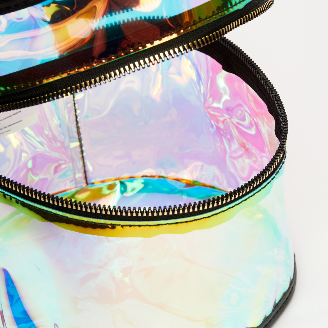 Holographic Cylindrical Pouch with Zip Closure and Handle