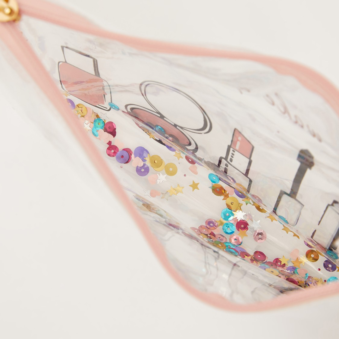 Printed See Through Cosmetic Pouch with Zip Closure