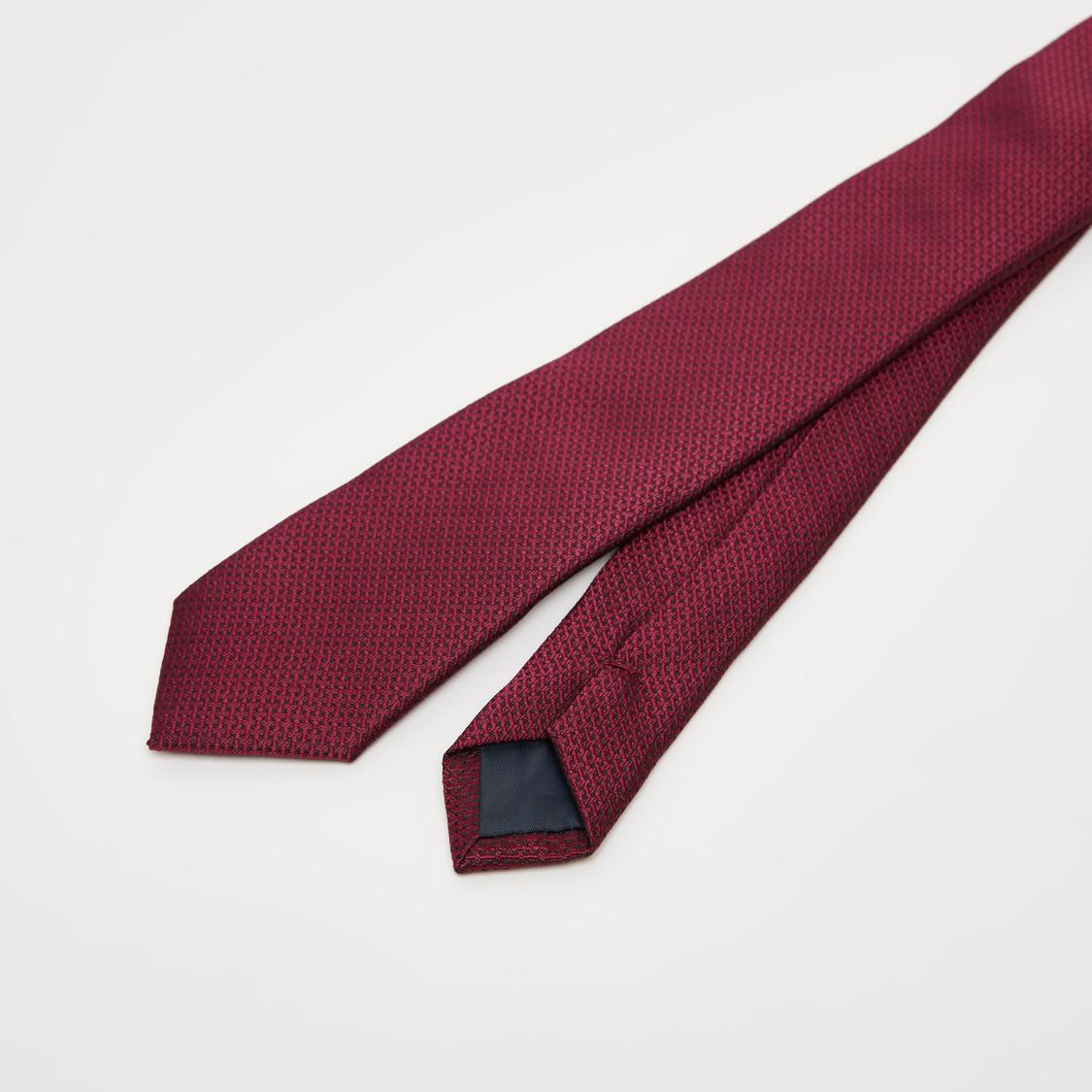 Textured Slim Tie with Keeper Loop
