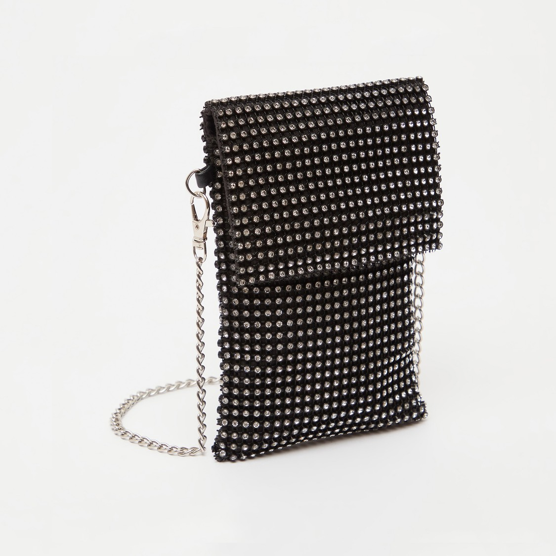 Stone Embellished Crossbody Bag with Chain Strap