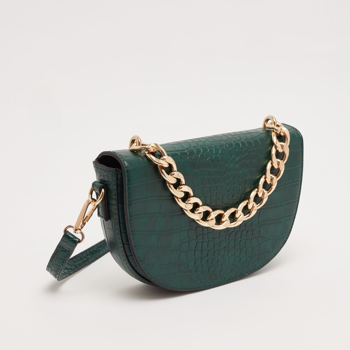 Textured Crossbody Bag with Metallic Chain Accent