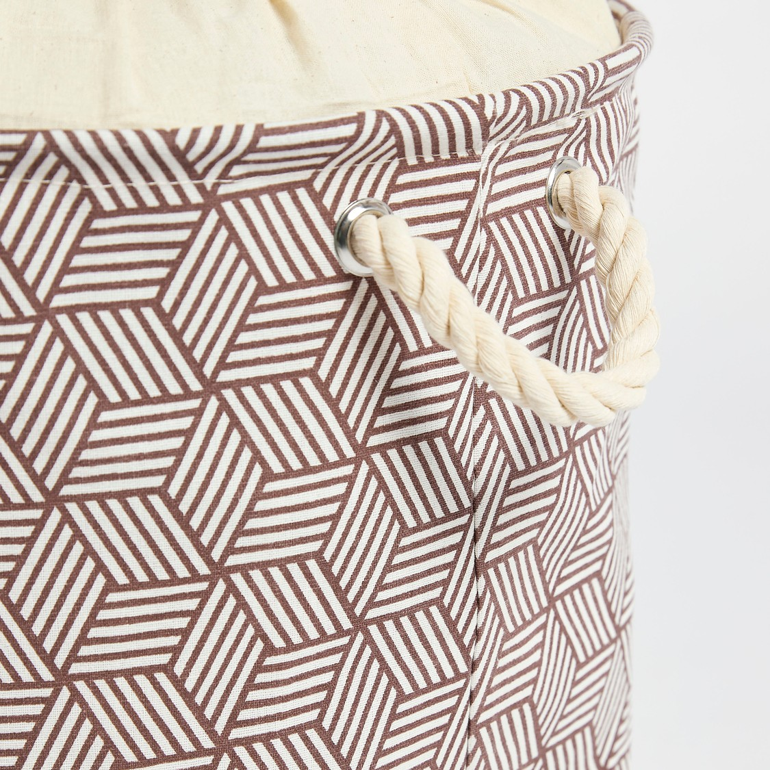 Geometric Print Laundry Hamper with Drawstring Closure - 49x38 cms