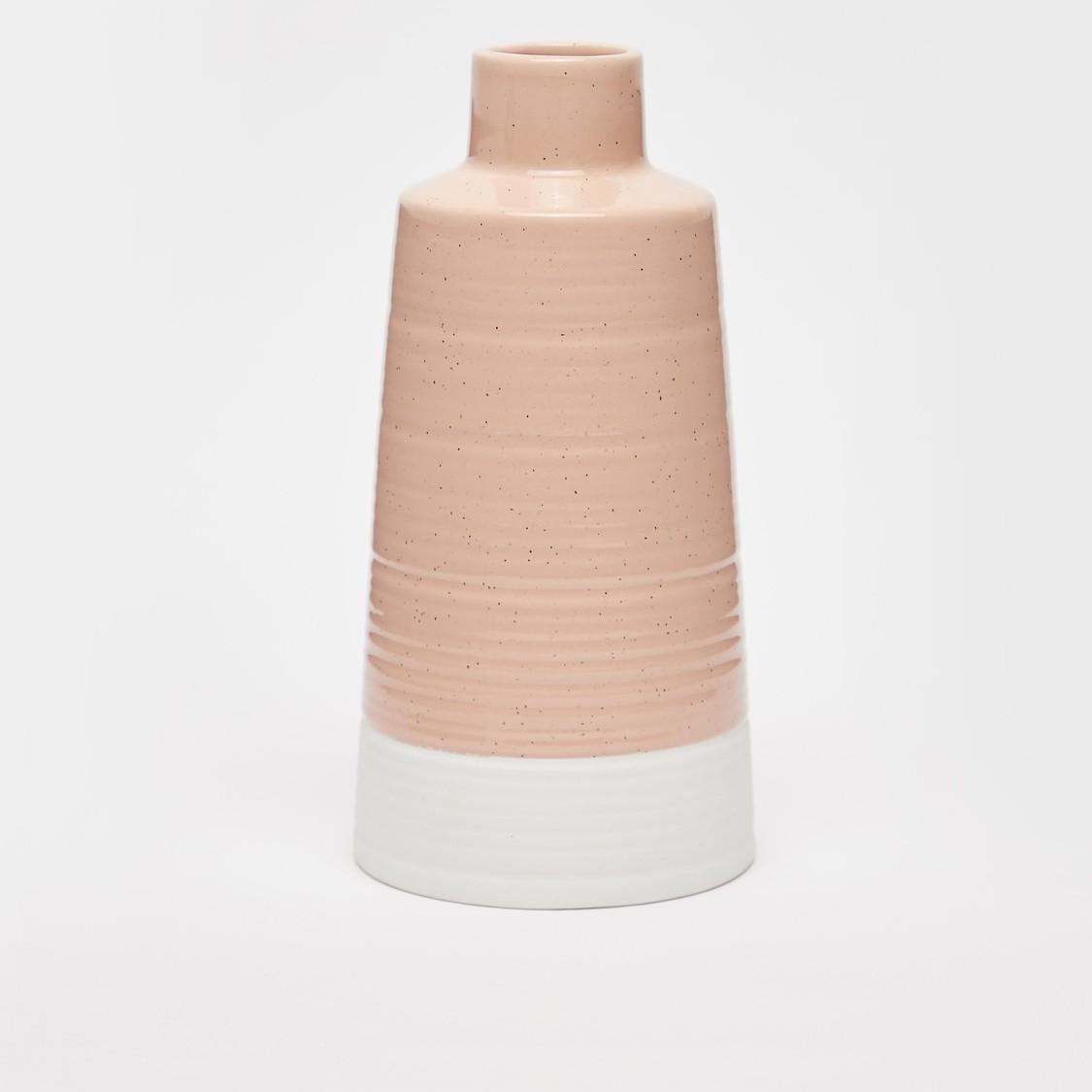 مزهرية سيراميك مزينة بتصميم قوالب ملونة - 22.5x11 سم