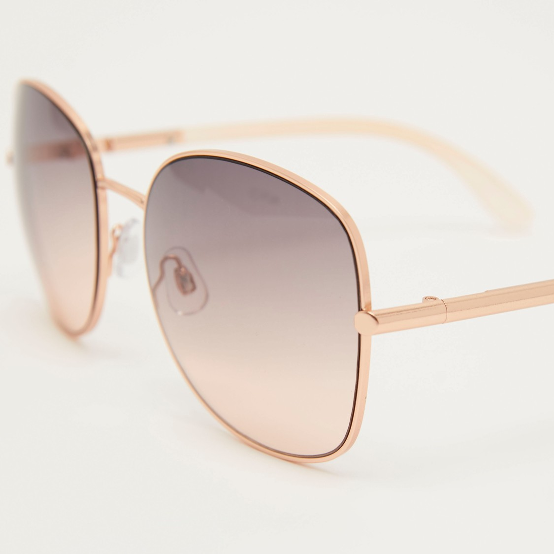 Gradient Metal Sunglasses with Nose Pads