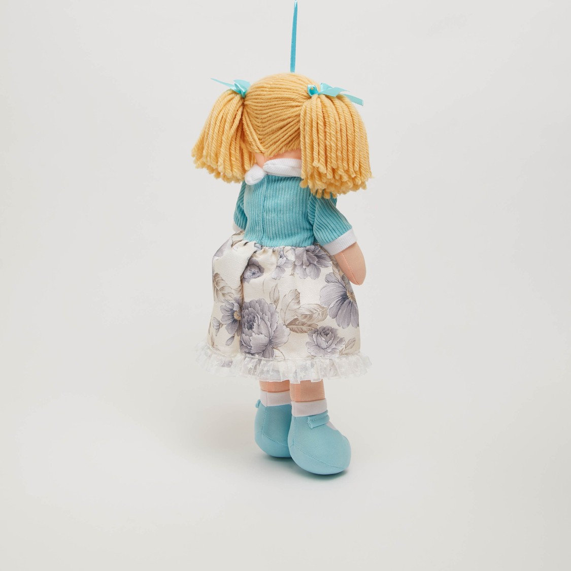 Doll Soft Toy in Floral Print Dress and Ponytails