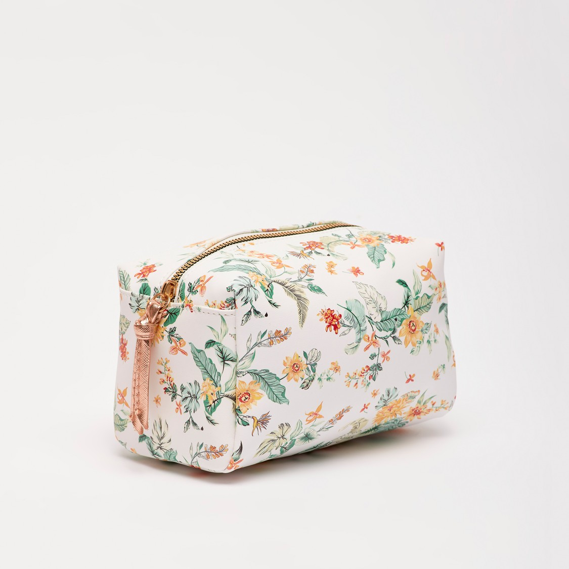 All-Over Floral Print Pouch with Zip Closure