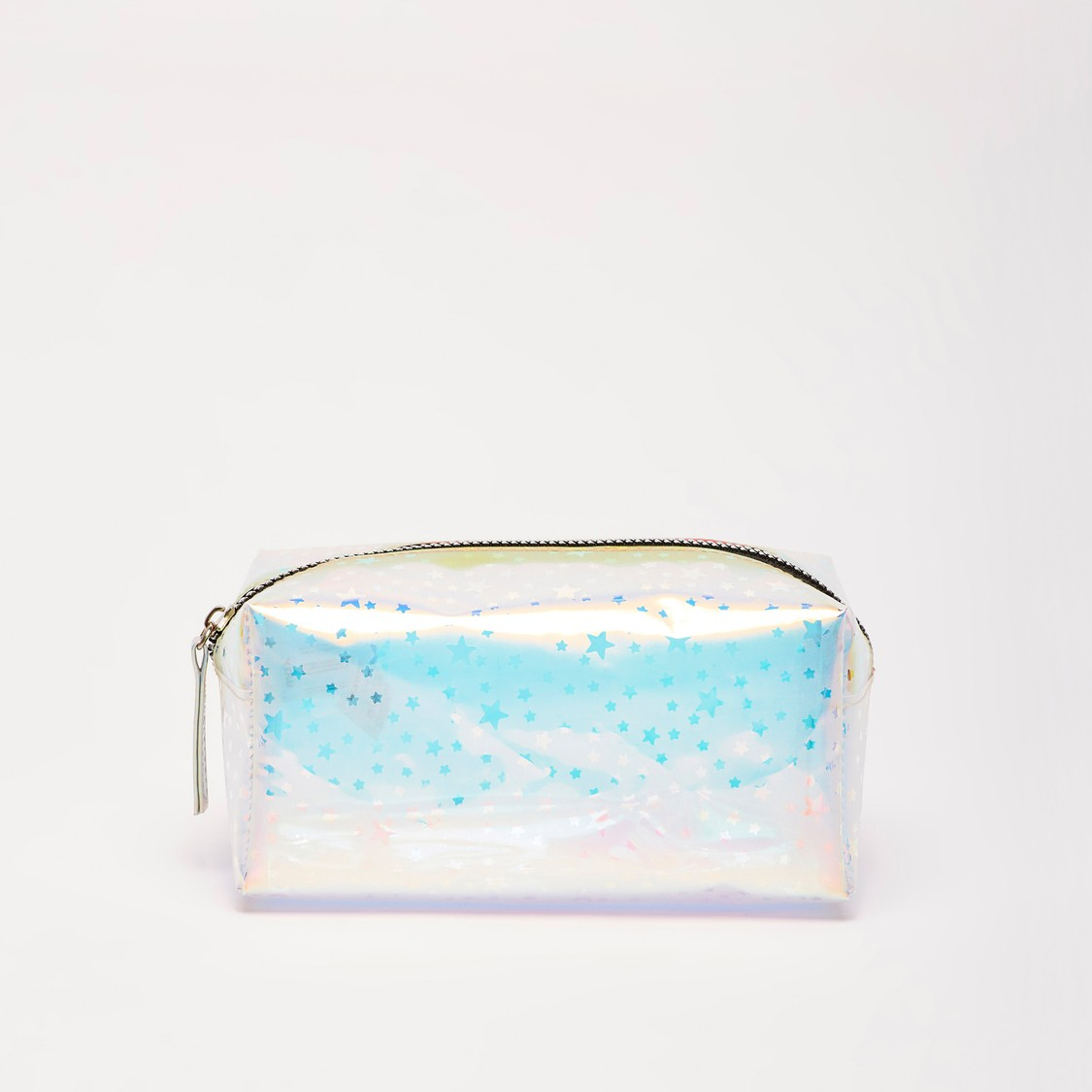 Star Print Pouch with Zipper Closure