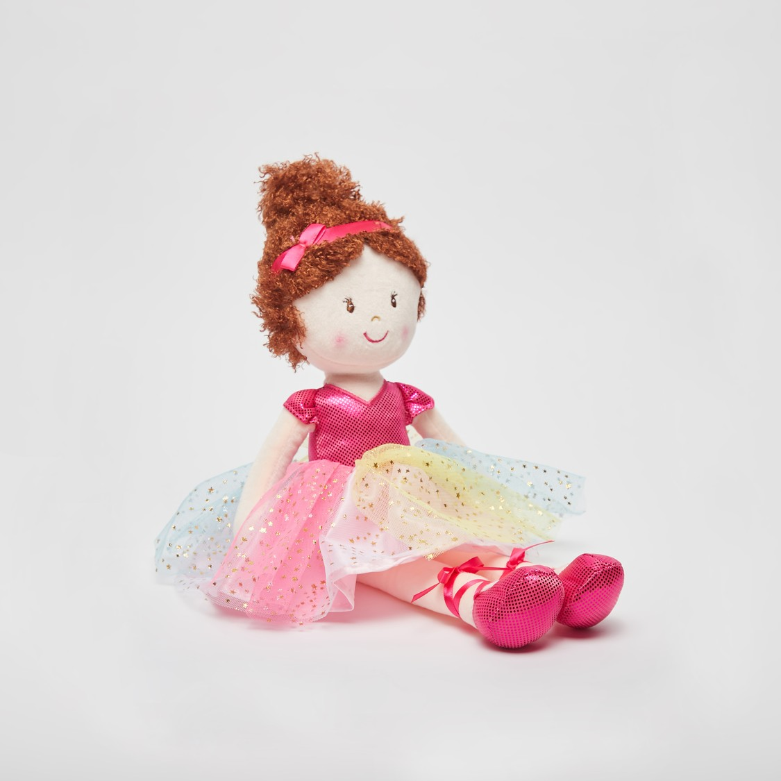 Doll Soft Toy in Multi Coloured Mesh Dress