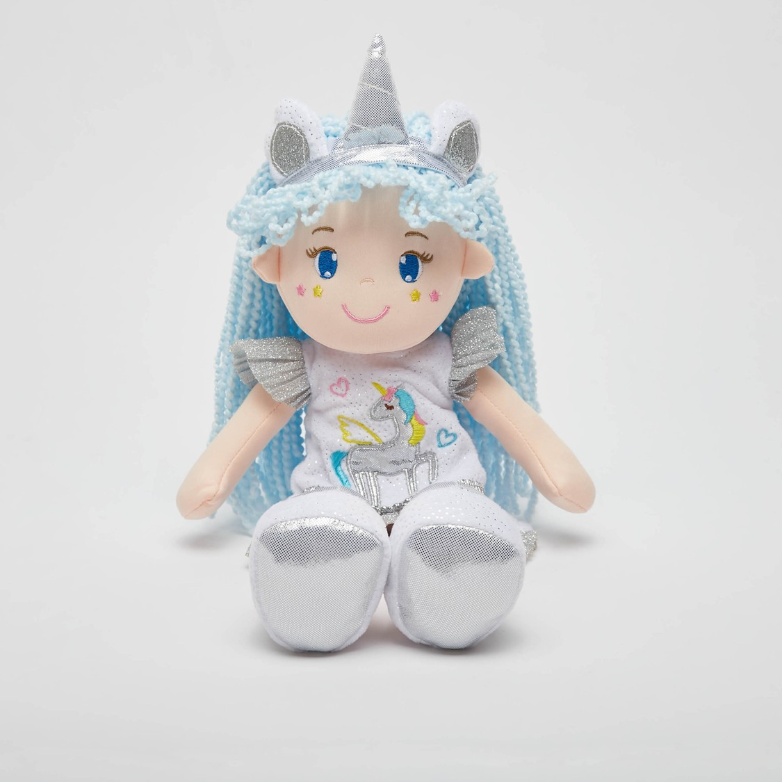 Doll Soft Toy in Glittery Dress and Unicorn Crown