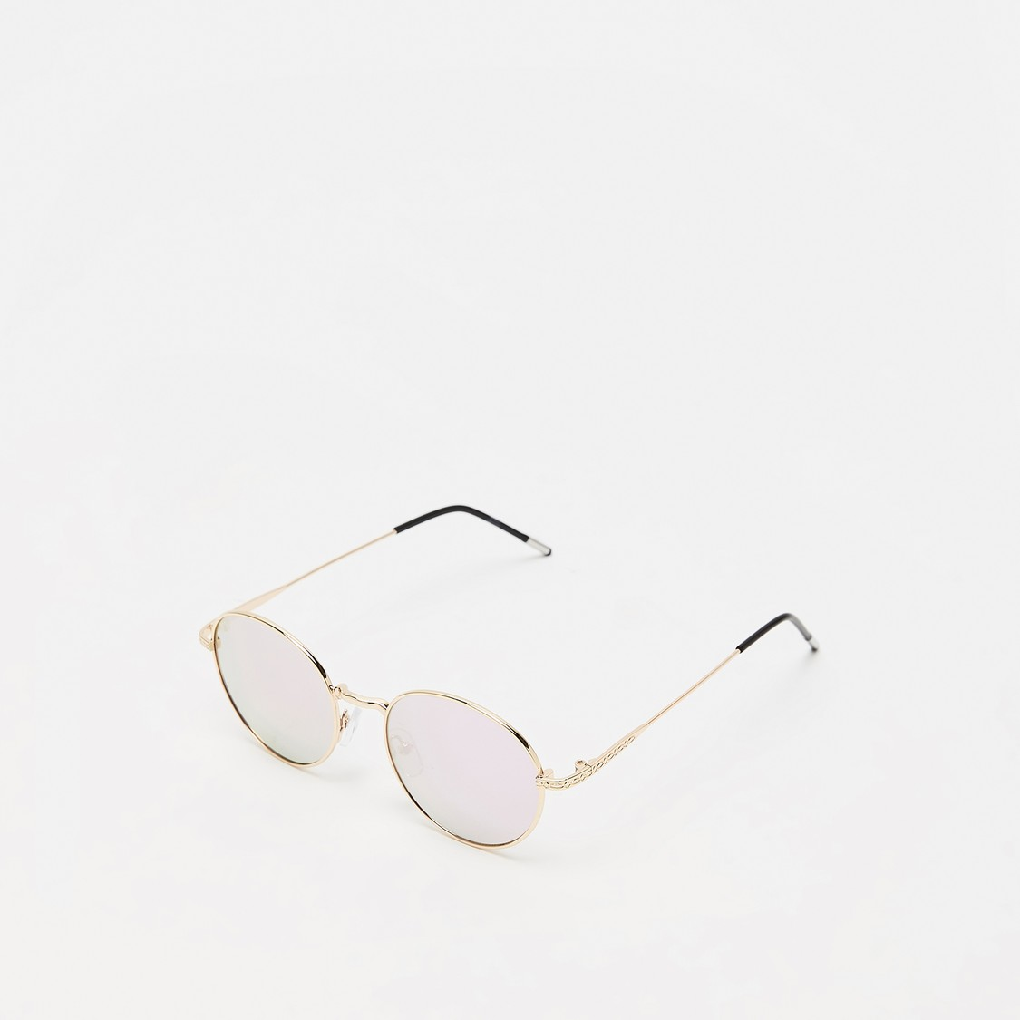 Full Rim Solid Round Sunglasses with Nose Pads