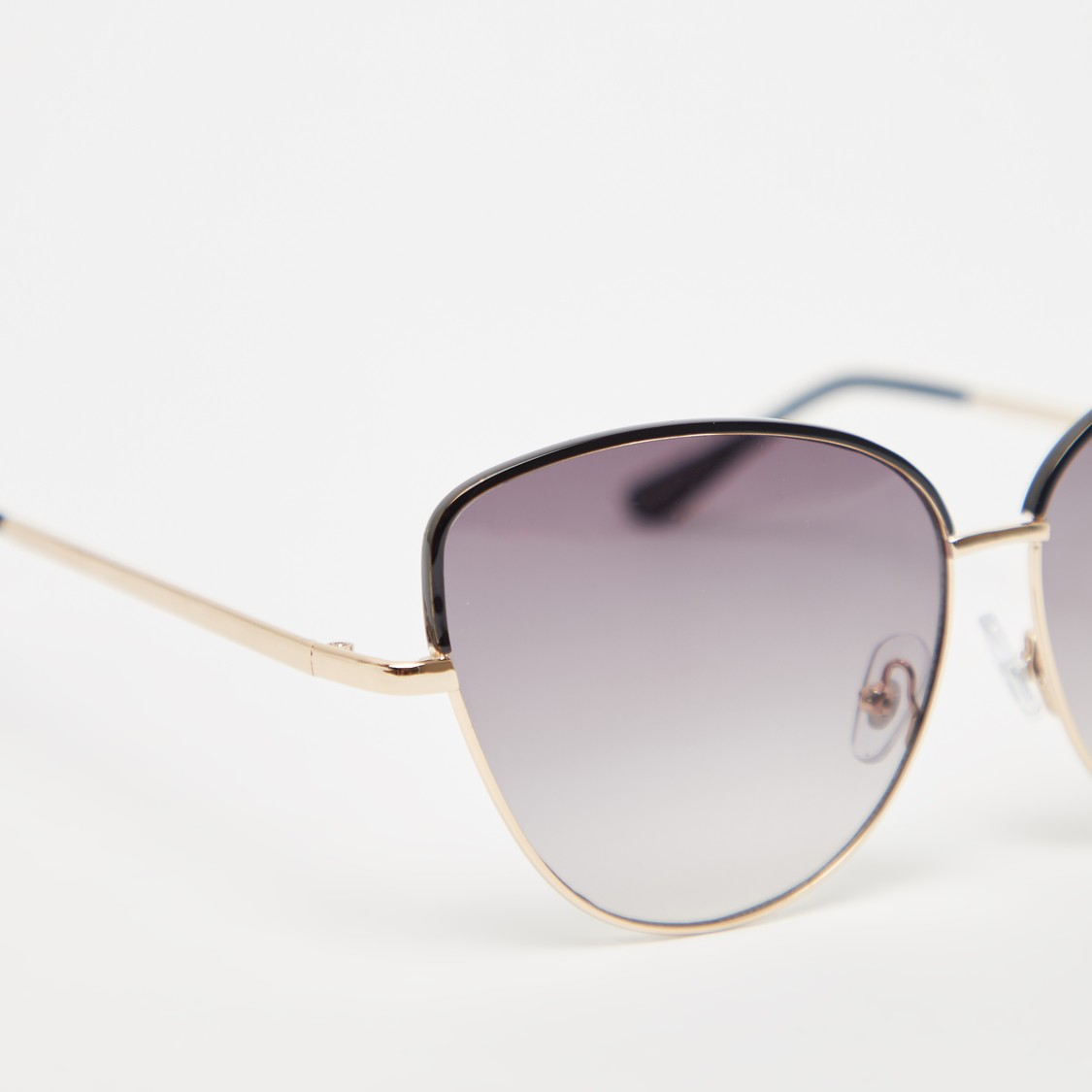 Full Rim Solid Cat Eye Sunglasses with Nose Pads