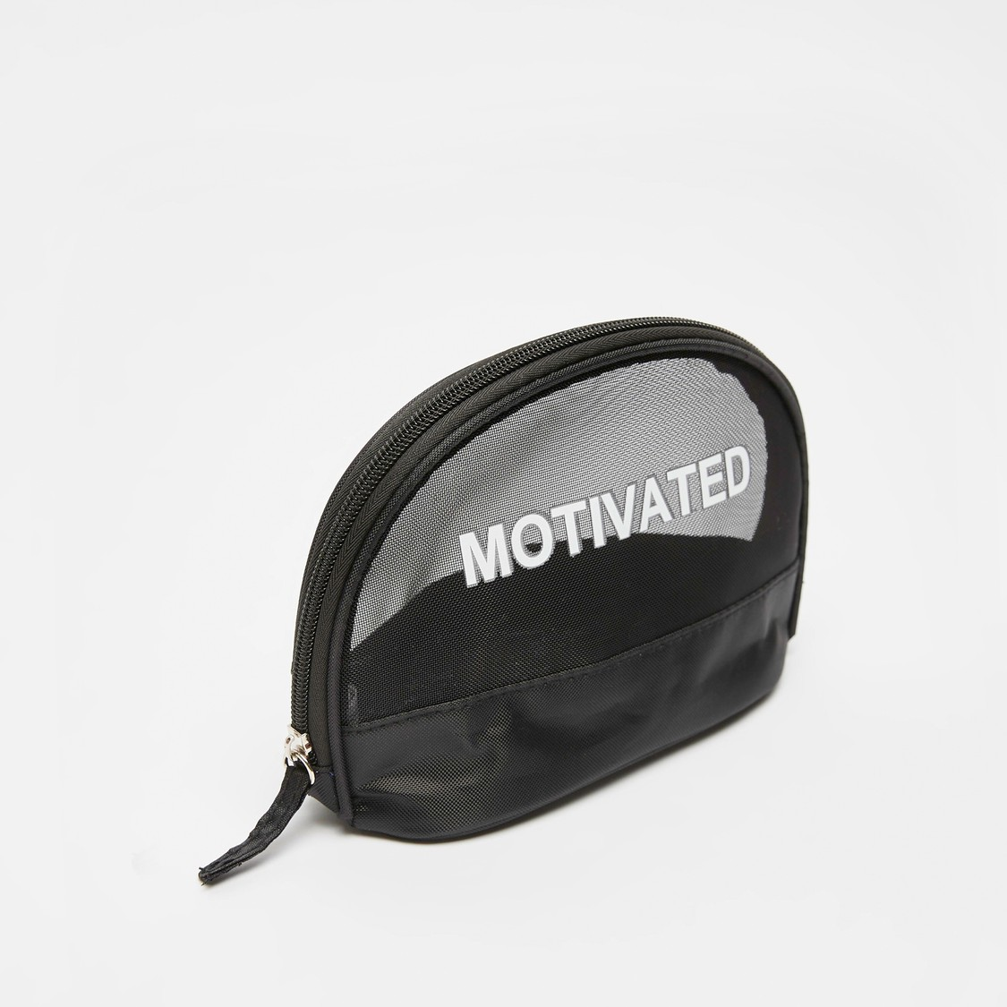 Text Print Pouch with Zip Closure