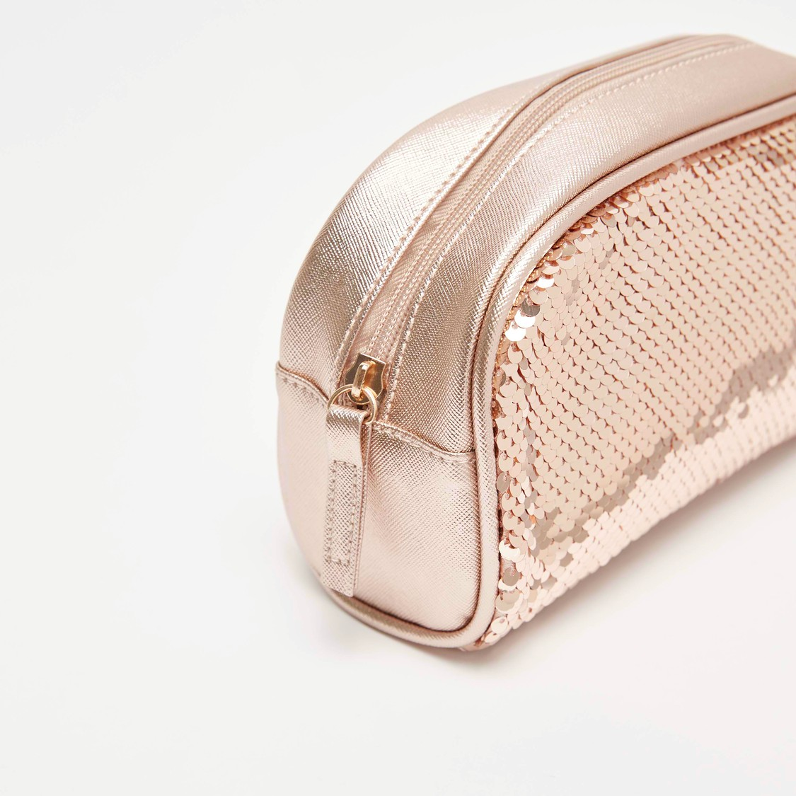 Sequin Embellished Zippered Pouch