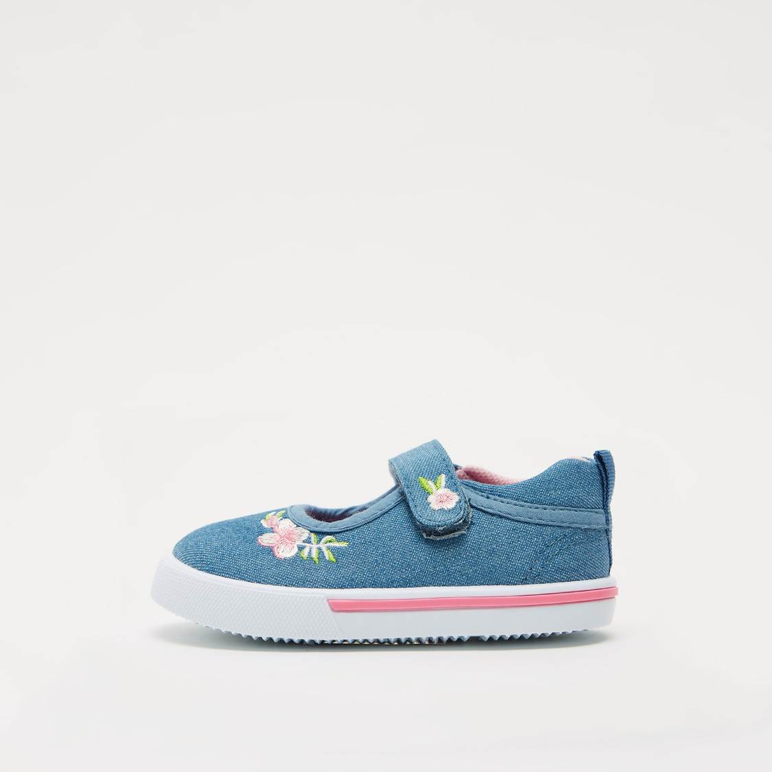Floral Embroidered Shoes with Hook and Loop Closure