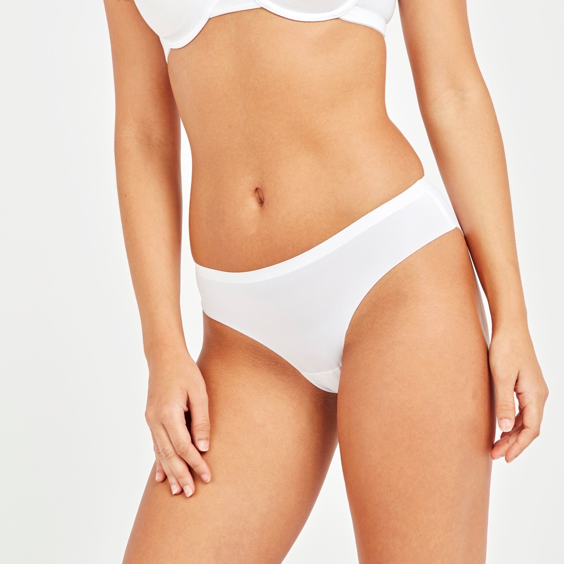 Set of 3 - Solid Bikini Briefs with Elasticised Waistband