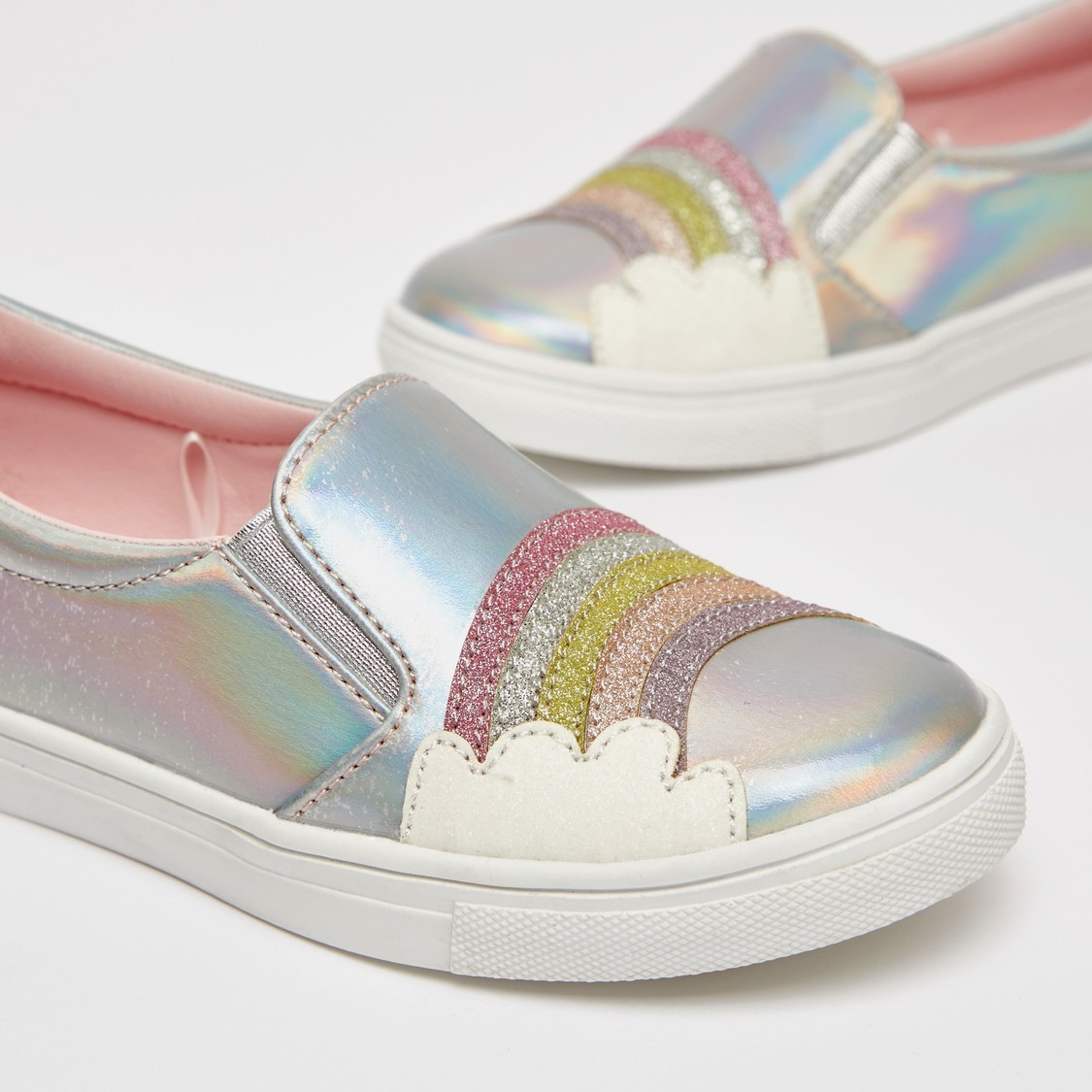 Textured Slip-On Shoes with Glitter Detail and Rainbow Accent