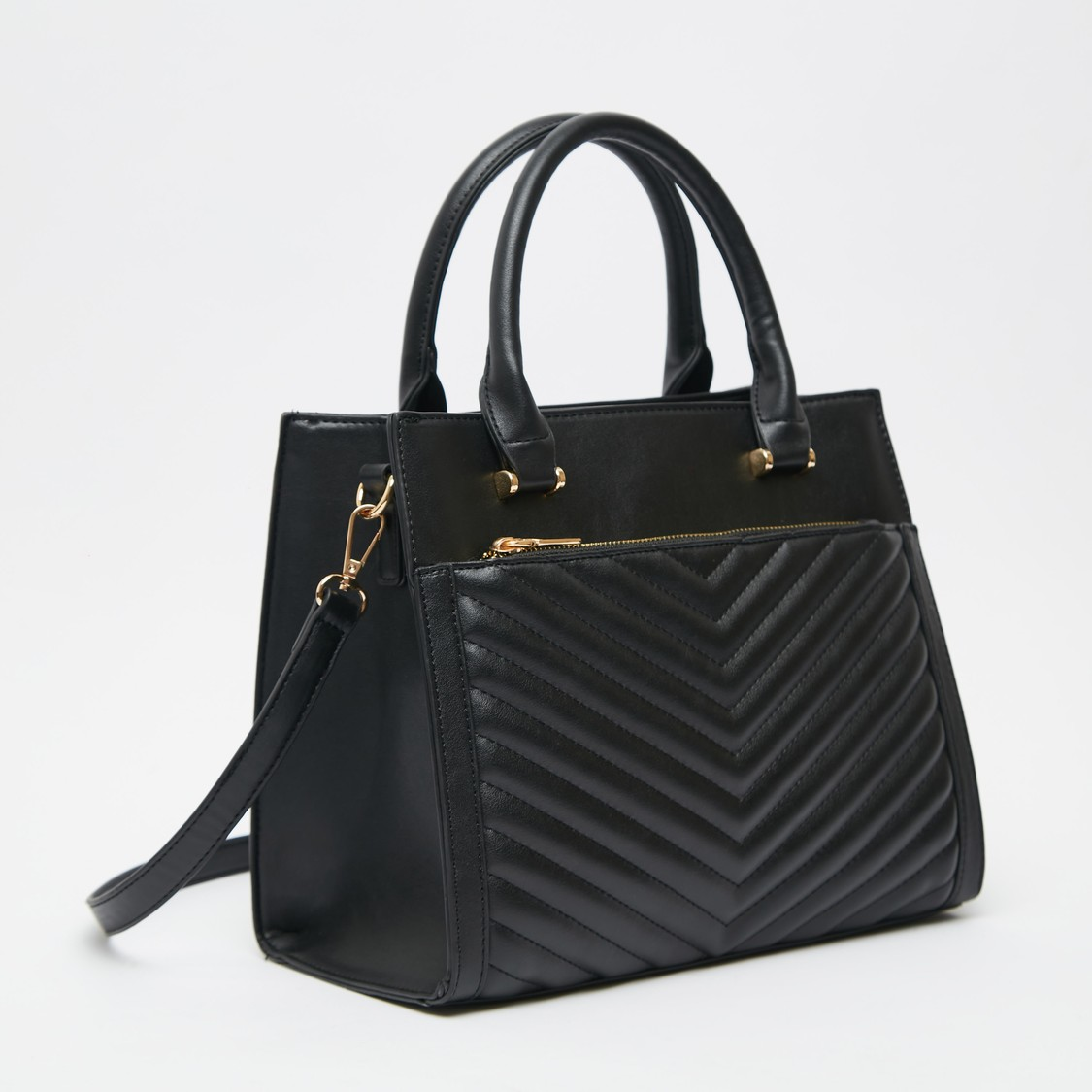 Quilted Handbag with Detachable Strap and Zip Closure