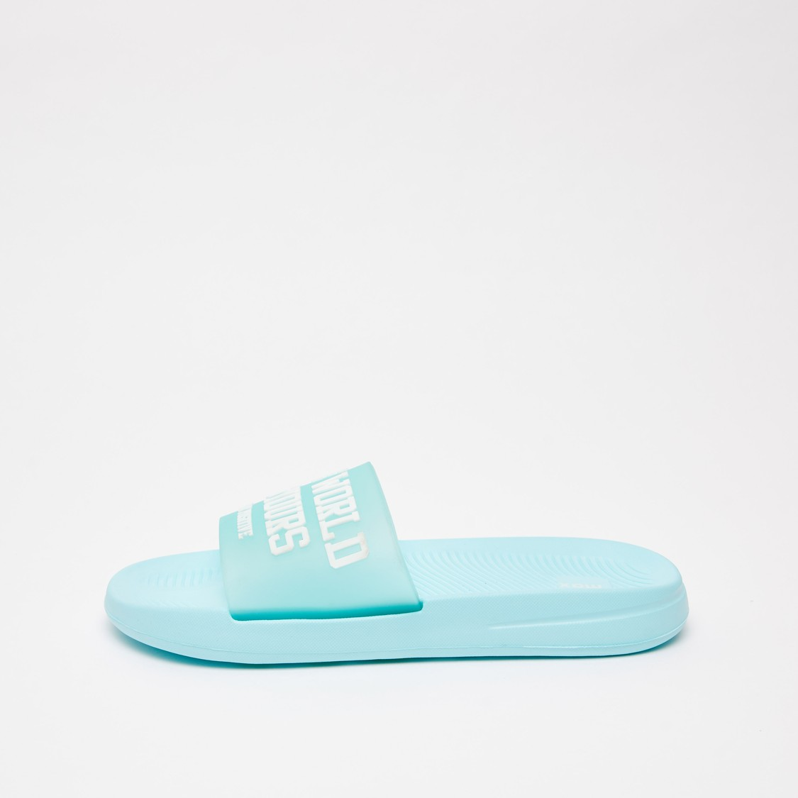 Embossed Print Slides with Broad Strap and Textured Footbed