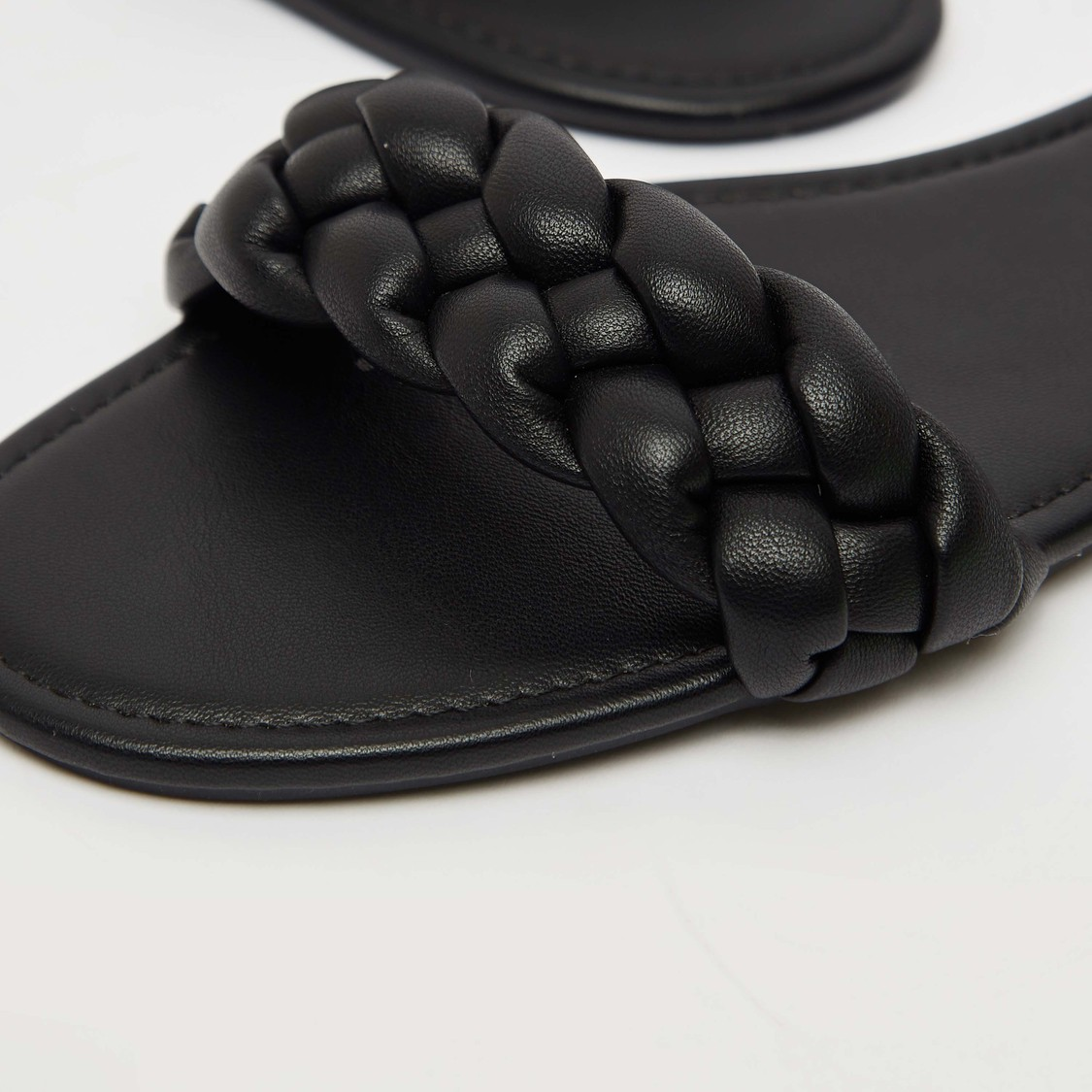 Solid Slip-On Flat Sandals with Braided Straps