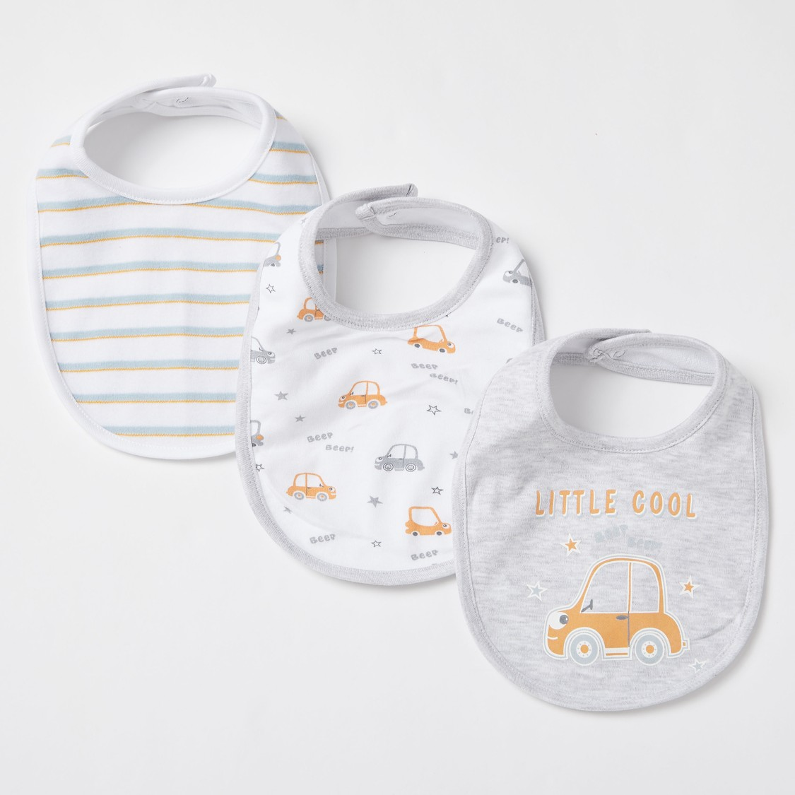Set of 3 - Graphic Print Bib with Snap Button Closure