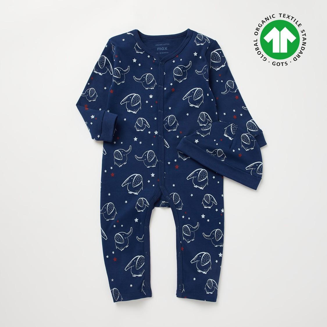 Elephant Print GOTS Organic Cotton Long Sleeves Sleepsuit with Cap