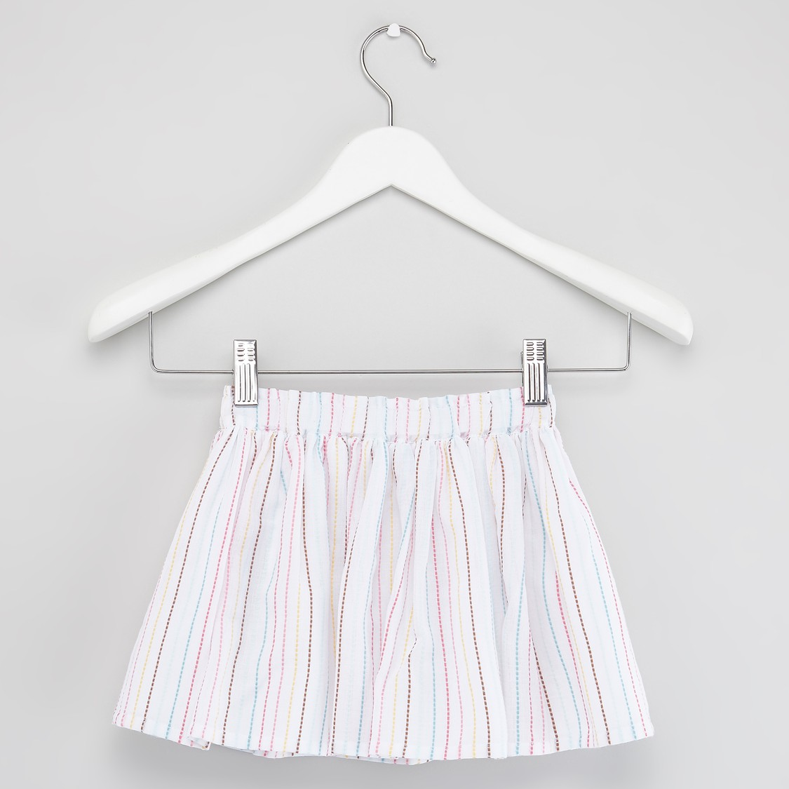 Printed Round Neck T-shirt with Striped Skirt