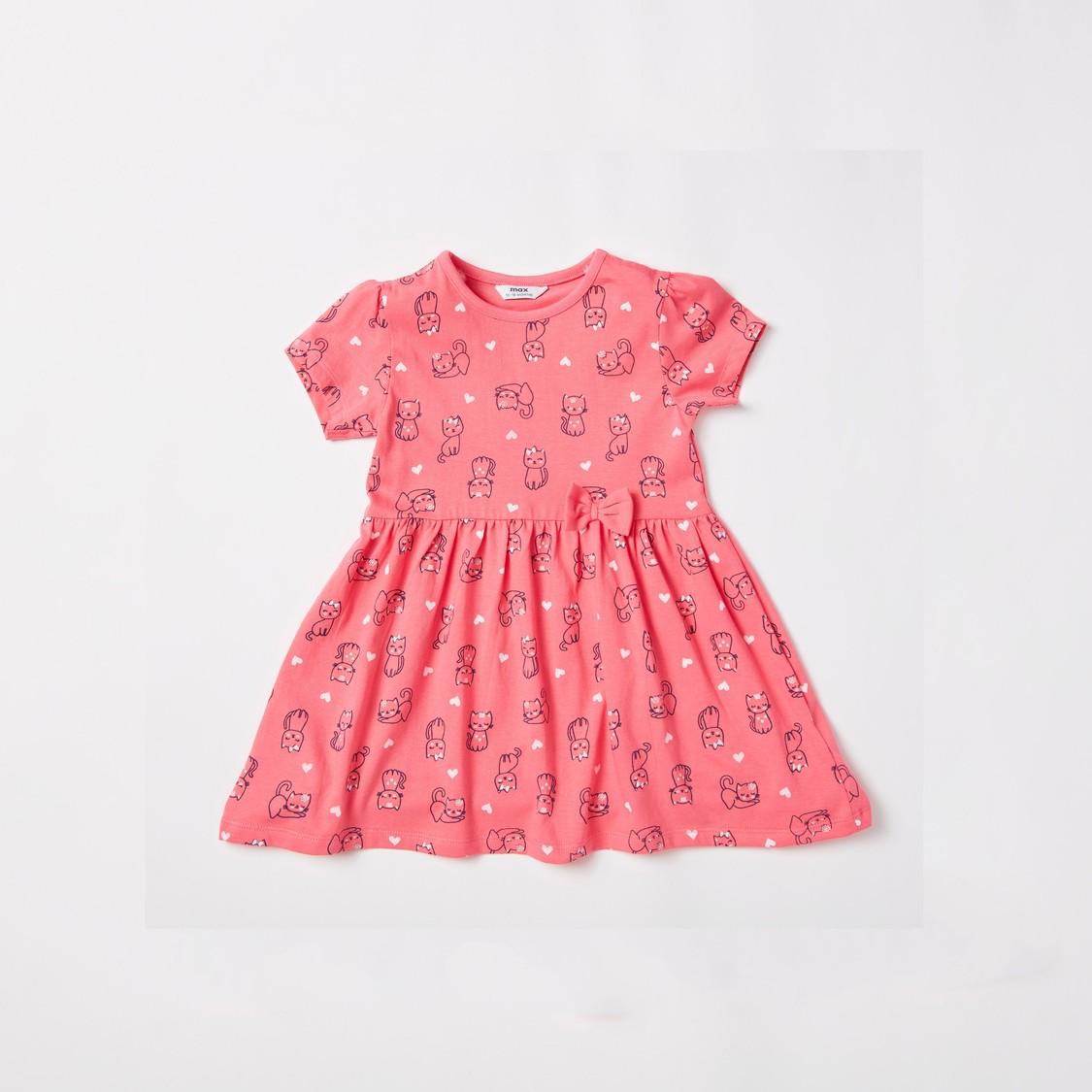 فستان نوم بياقة مستديرة وأكمام قصيرة بطبعات قطة- قطعتين من جونيورز