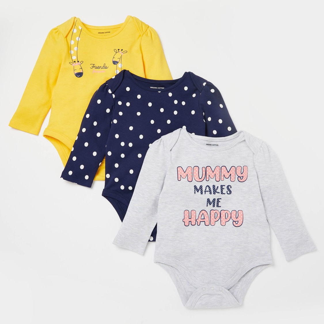 Pack of 3 - Printed Bodysuits with Long Sleeves and Round Neck