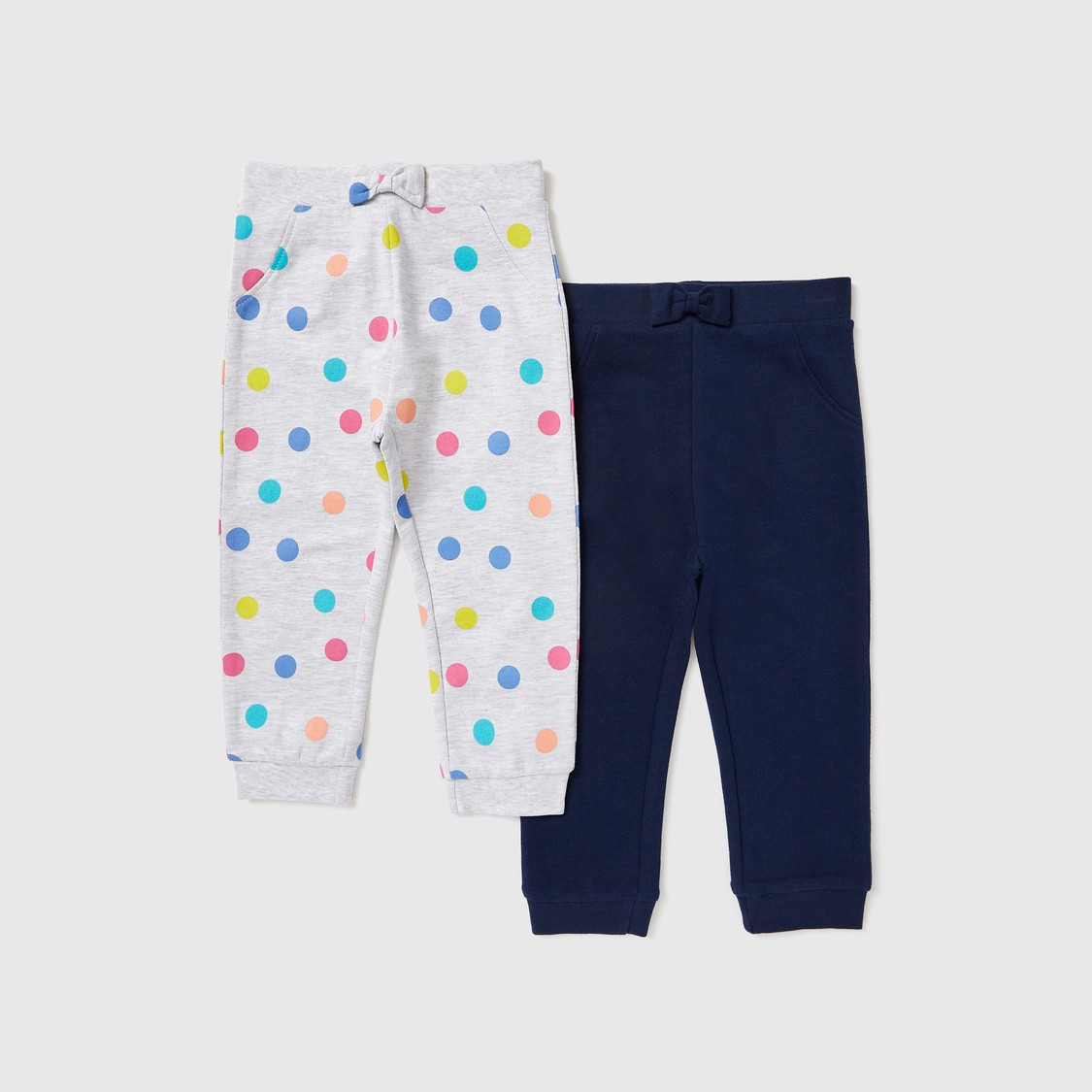 Set of 2 - Assorted Jog Pants with Pockets and Bow Applique Detail