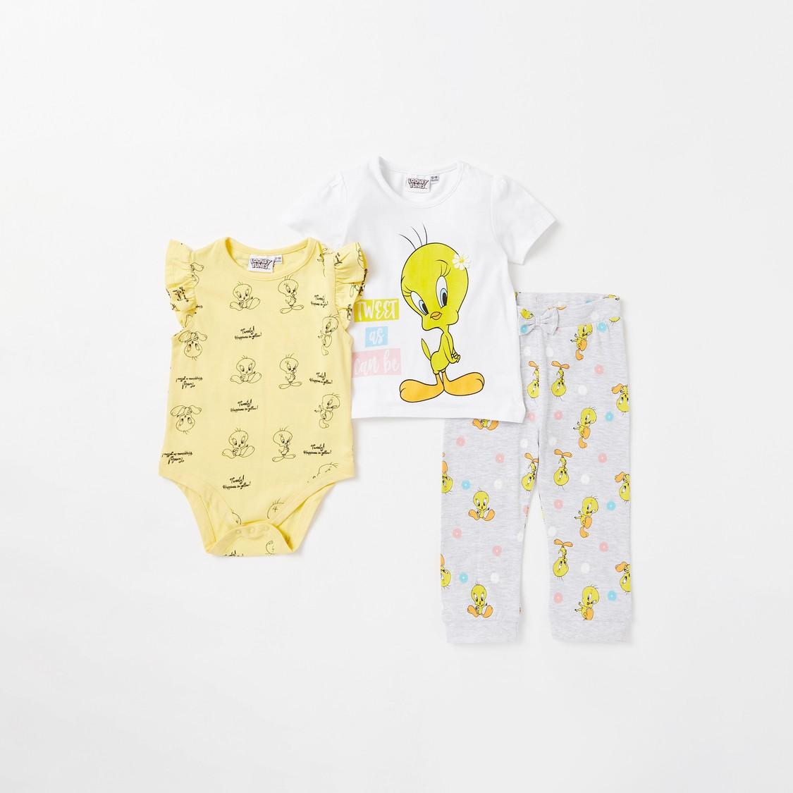 Tweety Print 3-Piece Clothing Set