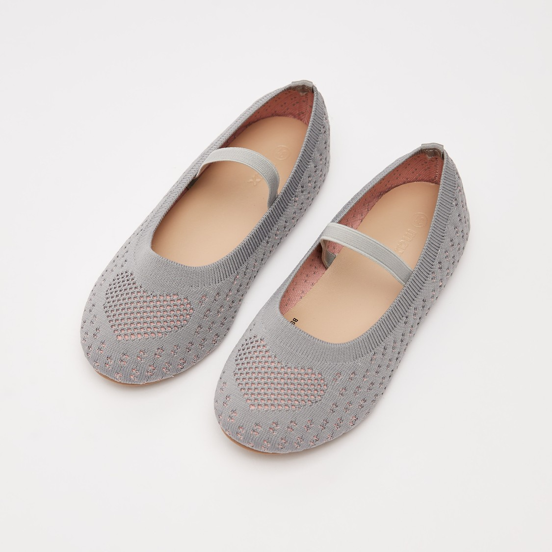 Textured Ballerinas with Heart Detail and Elasticised Strap