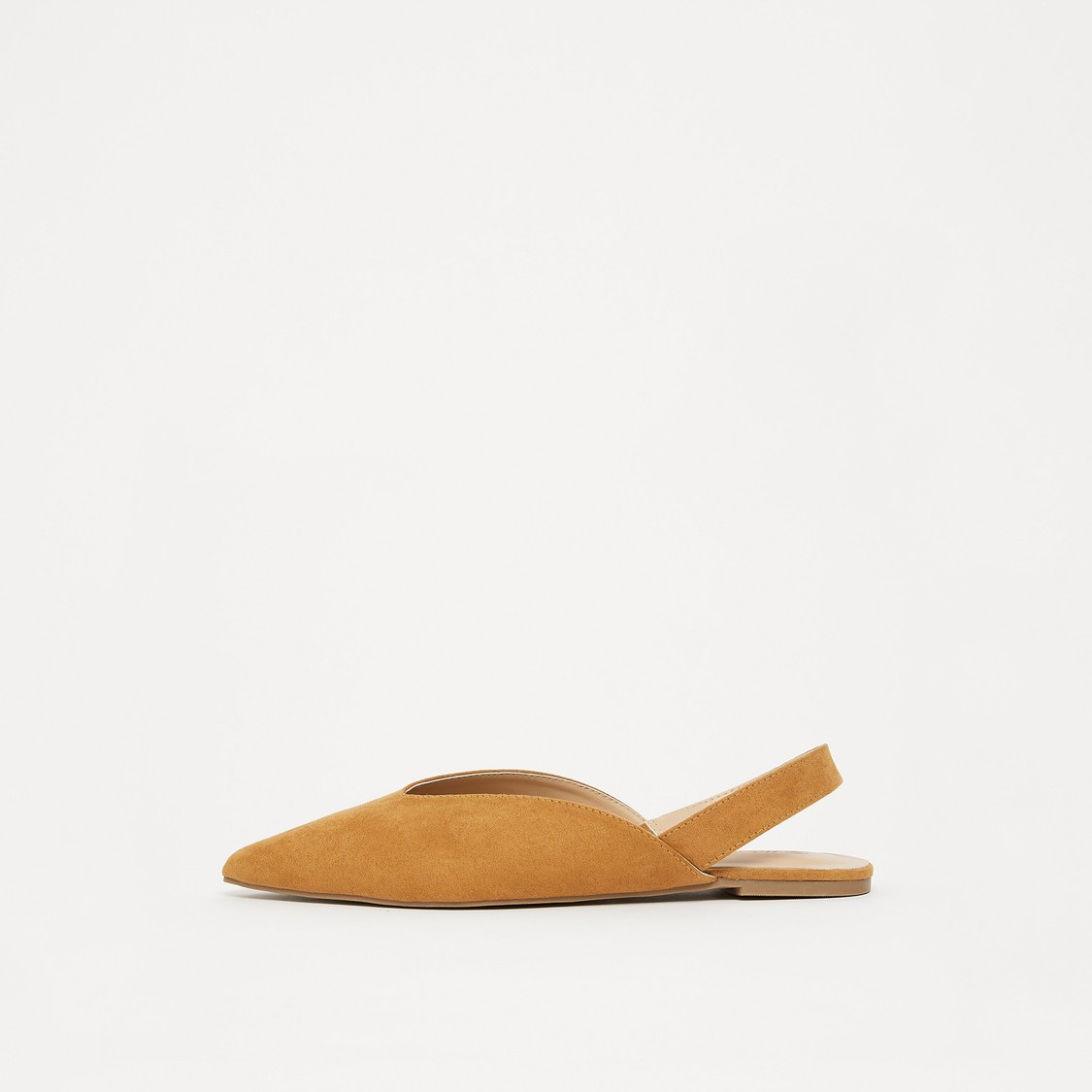 Solid Pointed Toe Flats with Elastic Closure