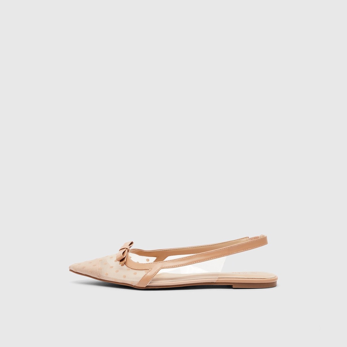 Pointed Toe Slip-On Flat Sandals with Bow Accent
