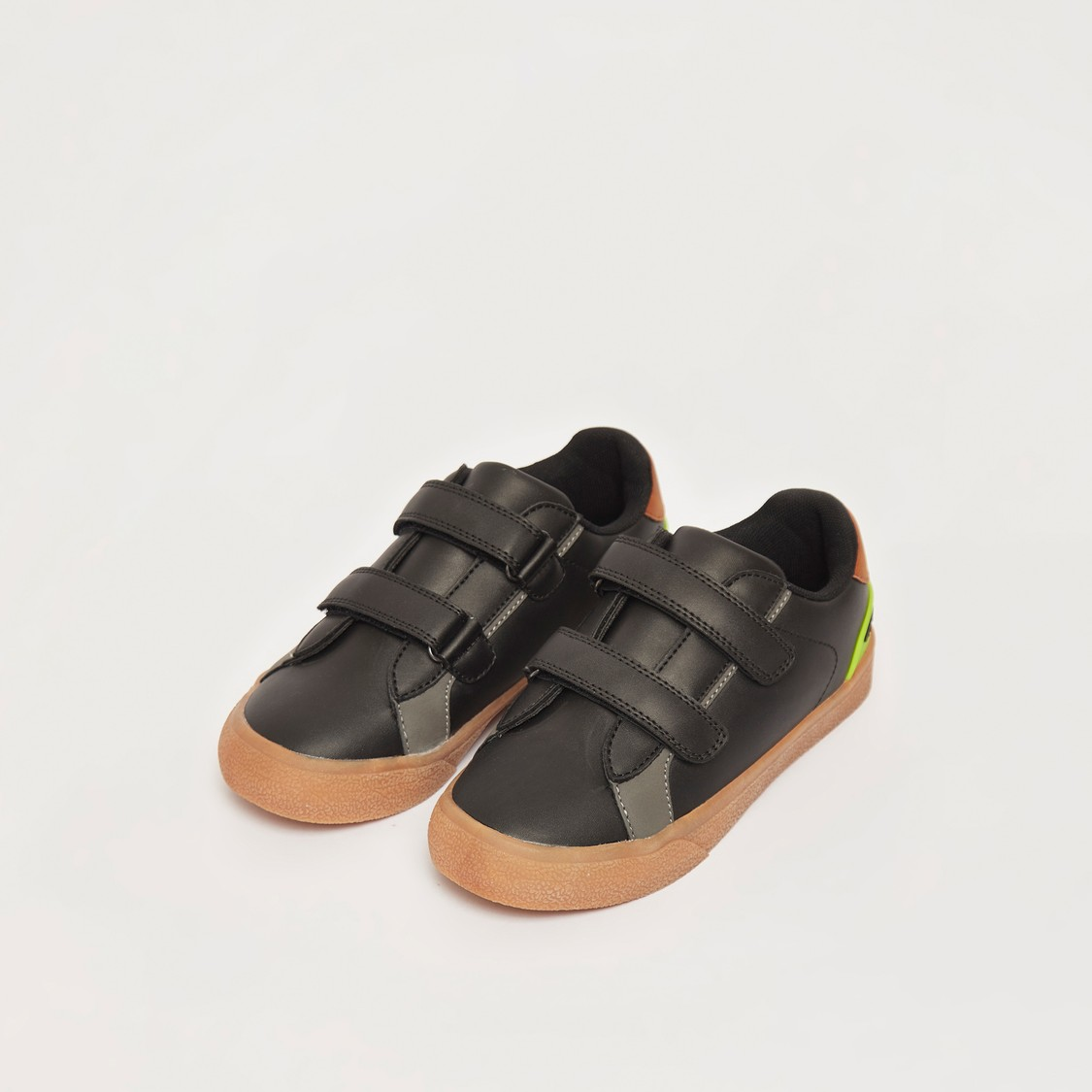 Solid Shoes with Hook and Loop Closure