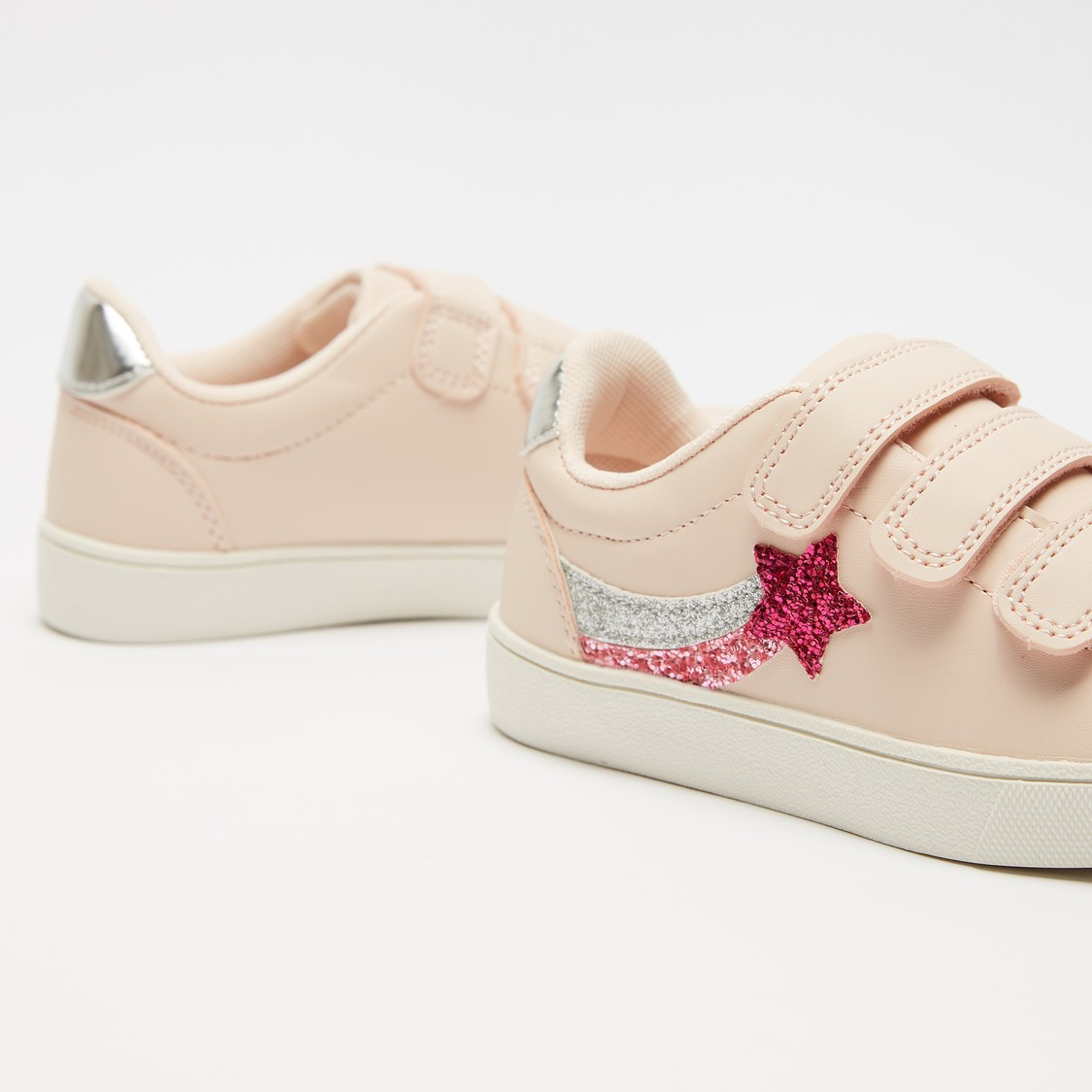 Applique Detail Shoes with Hook and Loop Closure