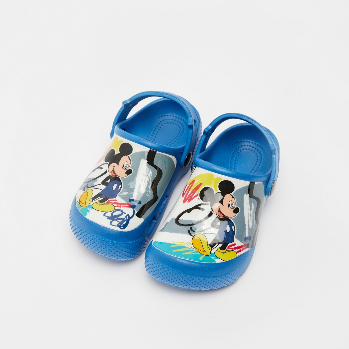 Mickey Mouse Print Clogs with Back Strap